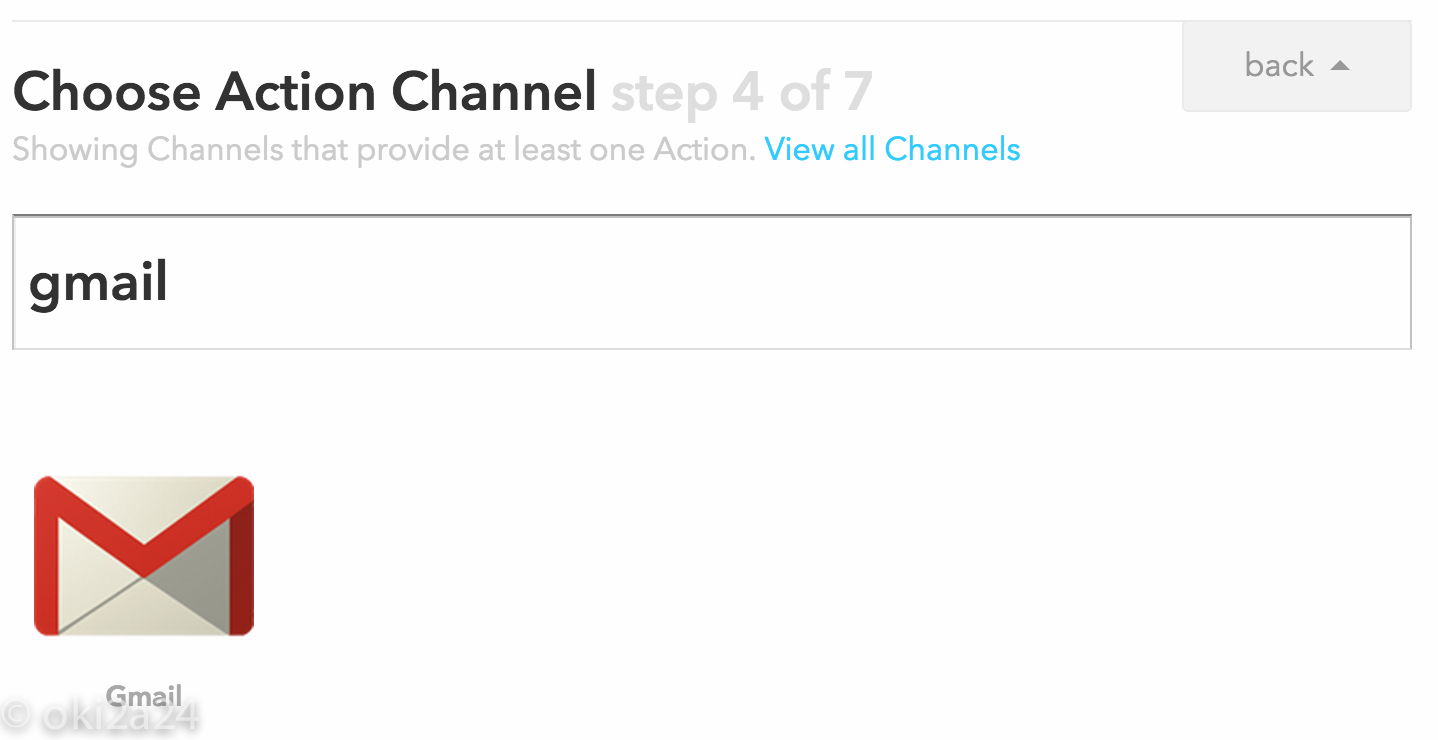 Choose Action Channel step 4 of 7。Gmail を選択