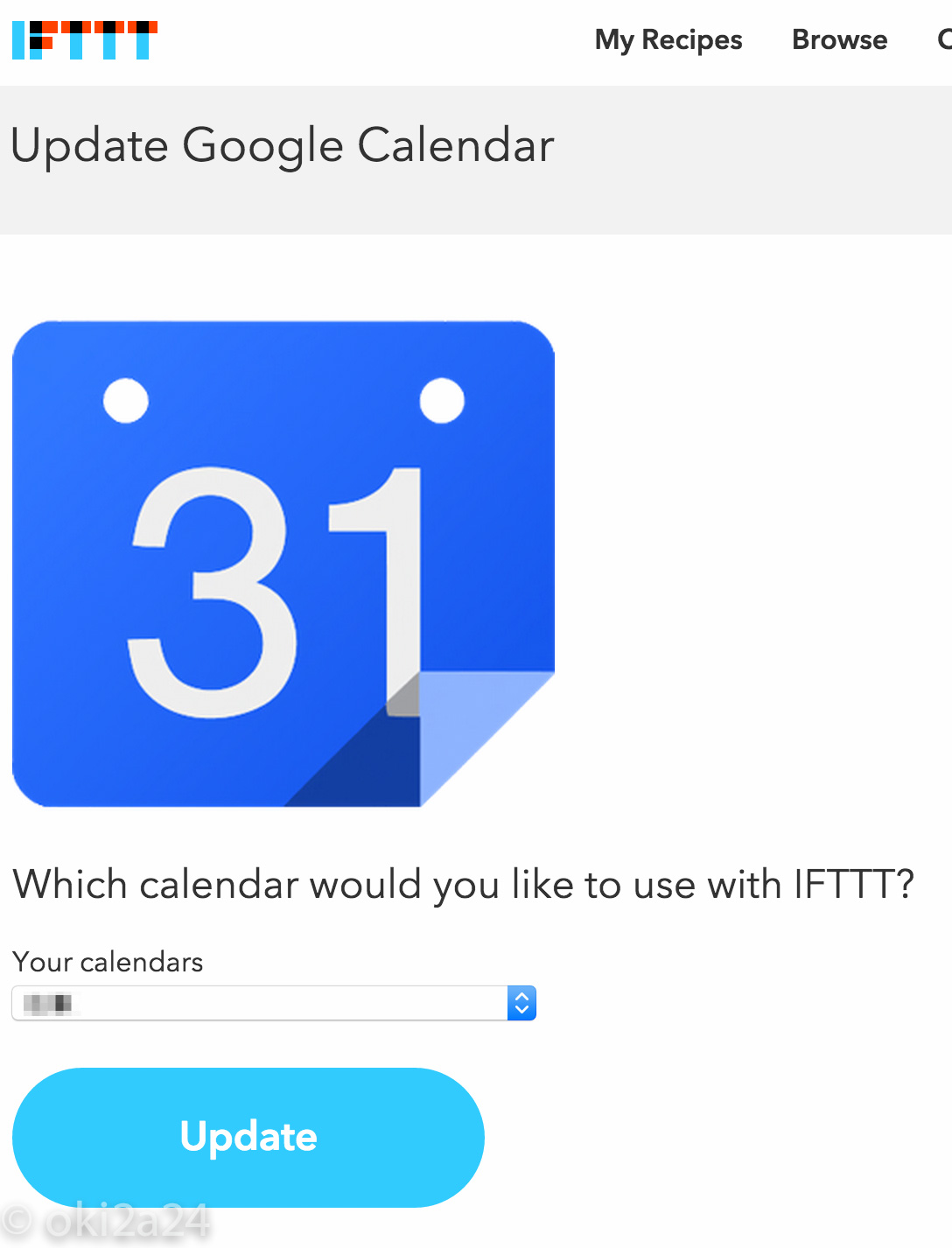 Which calendar would you like to use with IFTTT?