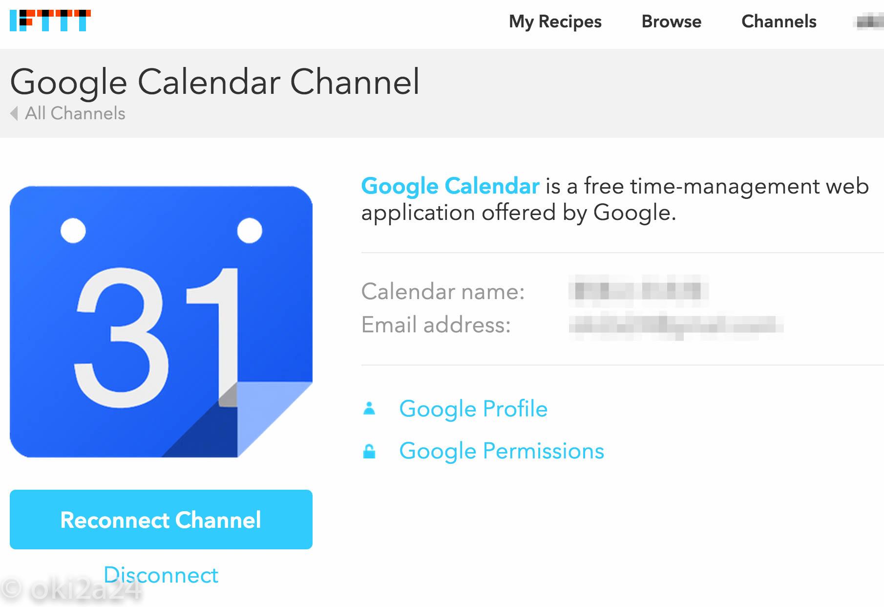 Calendar name:、Email address:、を確認