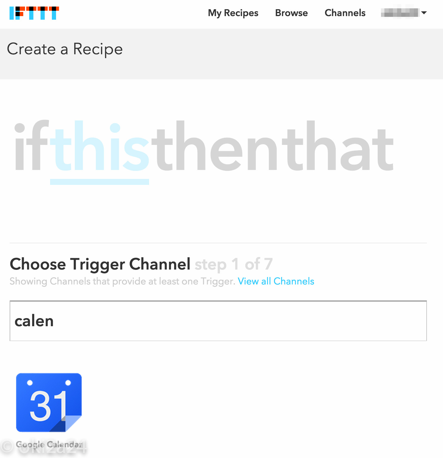 step 1 Choose Trigger Channel。Google Calendar を選択