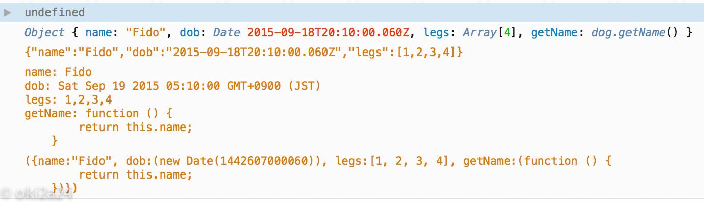 JavaScript オブジェクトの中身のウェブブラウザ Firefox で表示