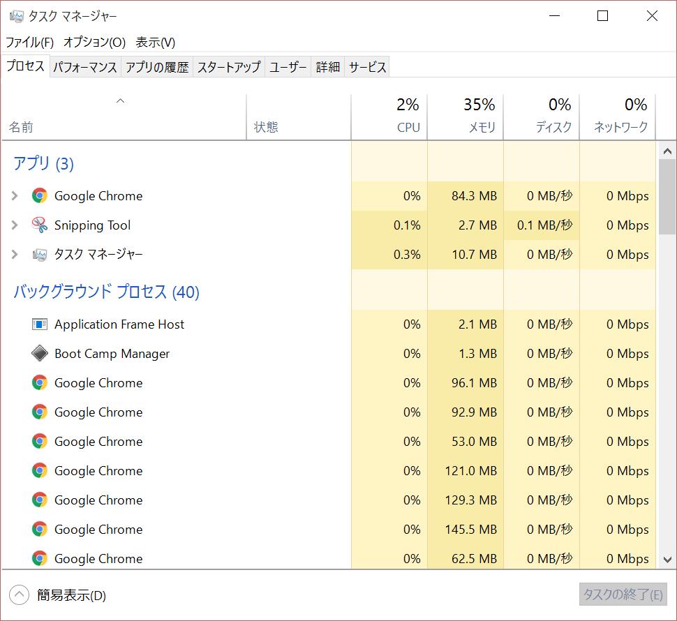 タスクマネージャーで Chrome が 64 ビット版になったことを確認