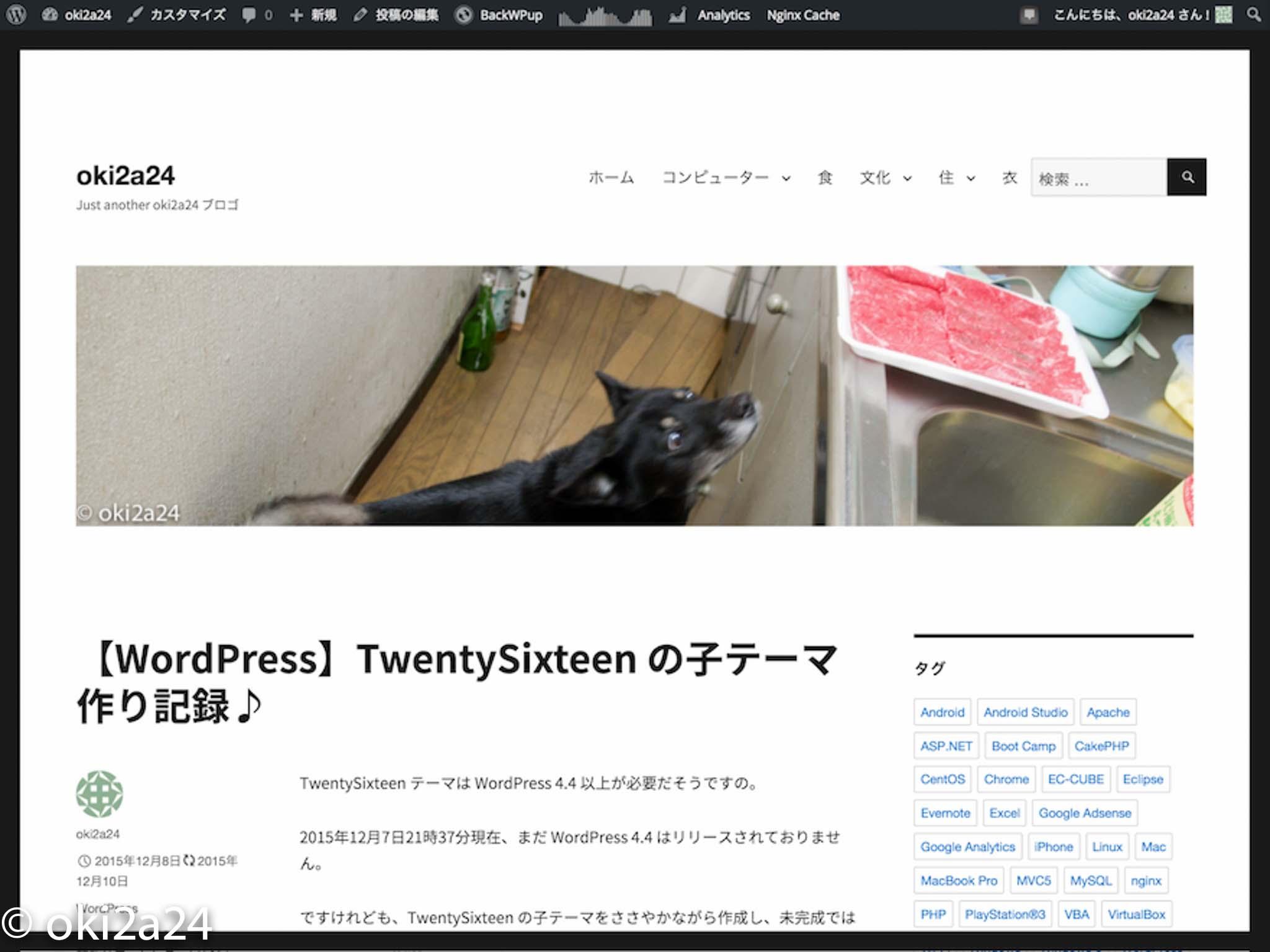 完成した TwentySixteen 子テーマ
