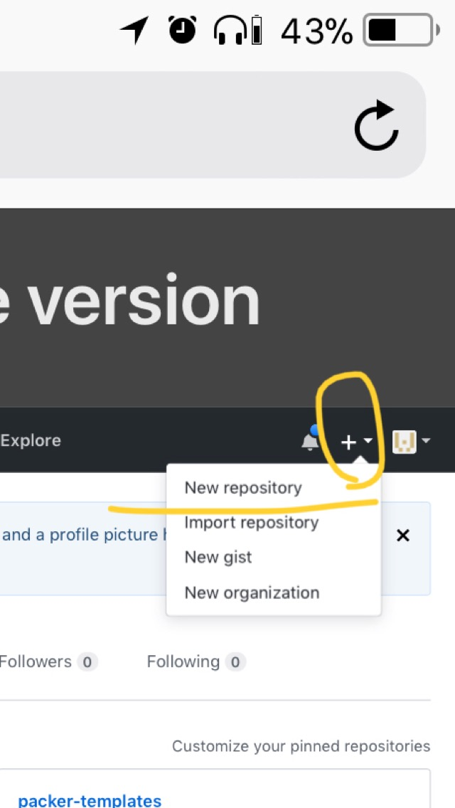 New repository でリポジトリを新規作成